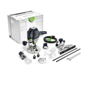 "Festool FES574310 OF 1400 EBQ-Plus ZA Router – ¼""Ø (6.35mm) & ½""Ø (12.7mm) Clamping Collets – Side Stop – Systainer included"